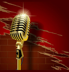old microphone on the brick wall vector image