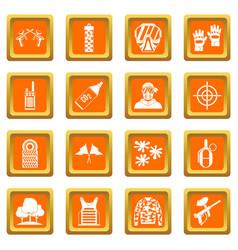 Paintball icons set orange vector