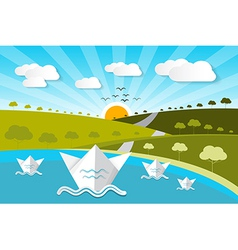 Paper Nature Background with Lake Trees Clouds vector image