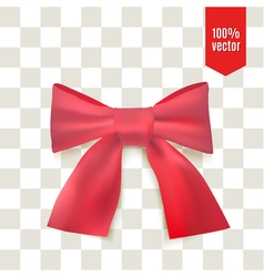 Realistic red bow ribbon can be use for decoration vector