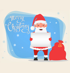santa holding blank placard and standing near bag vector image vector image