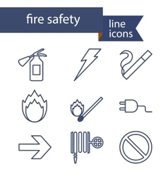 Set of line icons for fire safety vector