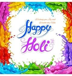 Splashy happy holi background vector
