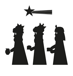 Three kings or three wise men silhouette vector