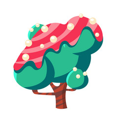Turquoise cake tree covered with pink glaze vector