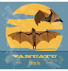 Vanuatu flying fox retro styled image vector