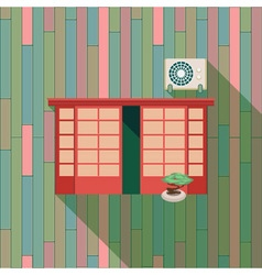 with a vintage window and air-conditioner on the vector image vector image