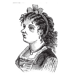 Womans face with hair bow vintage engraving vector
