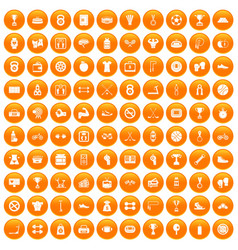 100 boxing icons set orange vector image vector image