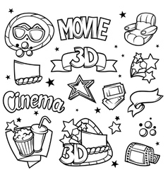 Set of 3d movie design elements and cinema objects vector