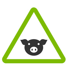 Pig warning flat icon vector