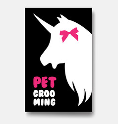 Poster template of grooming service pet with white vector
