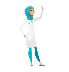 Muslim doctor pointing with her forefinger vector