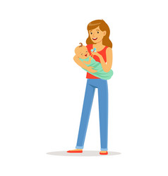 Happy mother and her adorable baby playing with vector