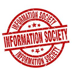 Information society round red grunge stamp vector