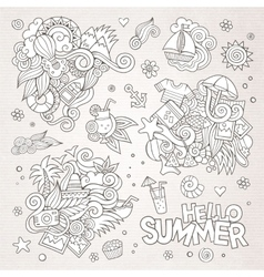 Summer and vacation symbols and objects vector