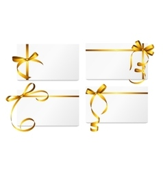 Gift card with gold ribbon and bow set vector