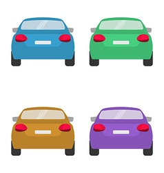 Set of back of cars in on white background vector
