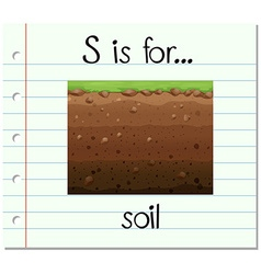Flashcard letter s is for soil vector