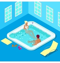 Indoors jacuzzi with woman and man vector