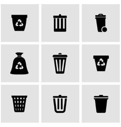 Black trash can icon set vector