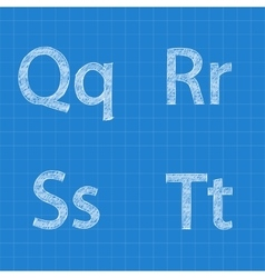 Sketched letters q r s t on blueprint background vector