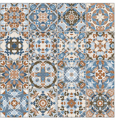 a collection of ceramic tiles in blue and brown vector image vector image
