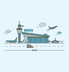 airport aircraft lineart colorful vector image