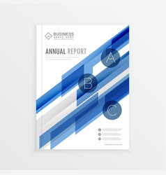 Annual report template design with blue abstract vector