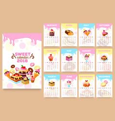 Bakery desserts calendar 2018 template vector