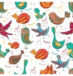 Bird singing summer seamless endless vector