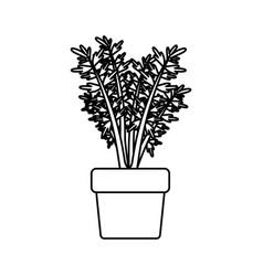 Black silhouette of carrot plant in flower pot vector