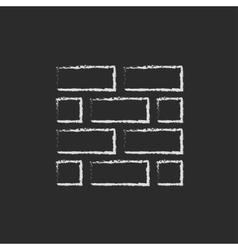 Bricks icon drawn in chalk vector image