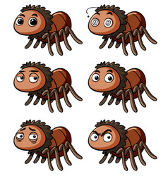 Brown spider with different emotions vector