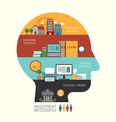 Business investment concept infographic head step vector