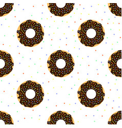 Chocolate donuts with colorful sprinkles vector