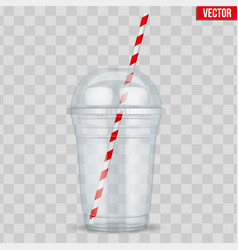 clear plastic cup with sphere dome cap vector image