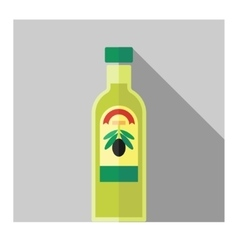color flat olive oil bottle vector image