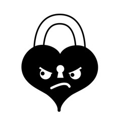 Contour angry heart padlock kawaii personage vector