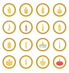 Different candle icons circle vector