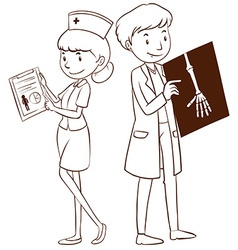 Doctor and nurse holding files vector image vector image
