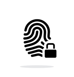 Fingerprint and thumbprint with lock icon on white vector