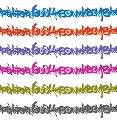 Graffiti seamless tag patterns in multiple color vector
