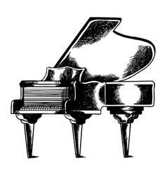 Grand piano engraving vector