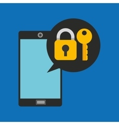 Hand holds smartphone padlock key vector