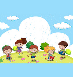 happy children playing in the rain vector image vector image