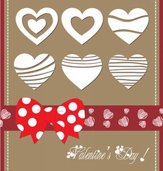 Happy valentine day with bow heart vector