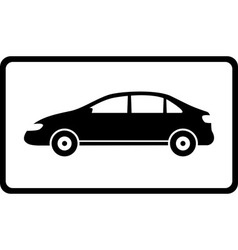 Icon with black car silhouette vector