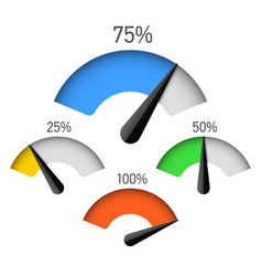 Infographic gauge chart element with percentage vector