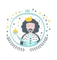 King Fairy Tale Character Girly Sticker In Round vector image vector image